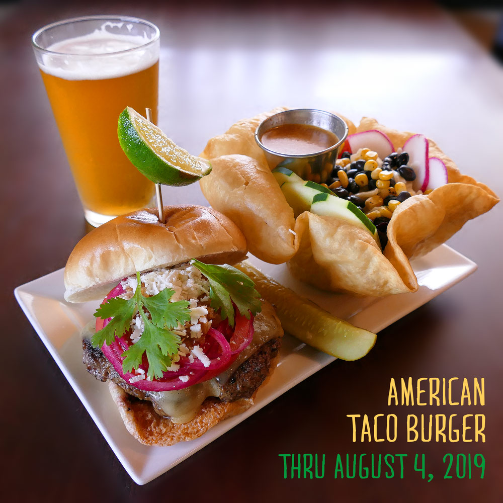 b710459f689f This week's featured burger is the American Taco Burger. A taco seasoned  burger topped with pepper jack cheese, roasted red peppers, pickled red  onions, ...